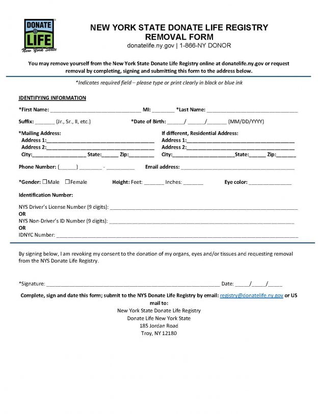 English Removal Form